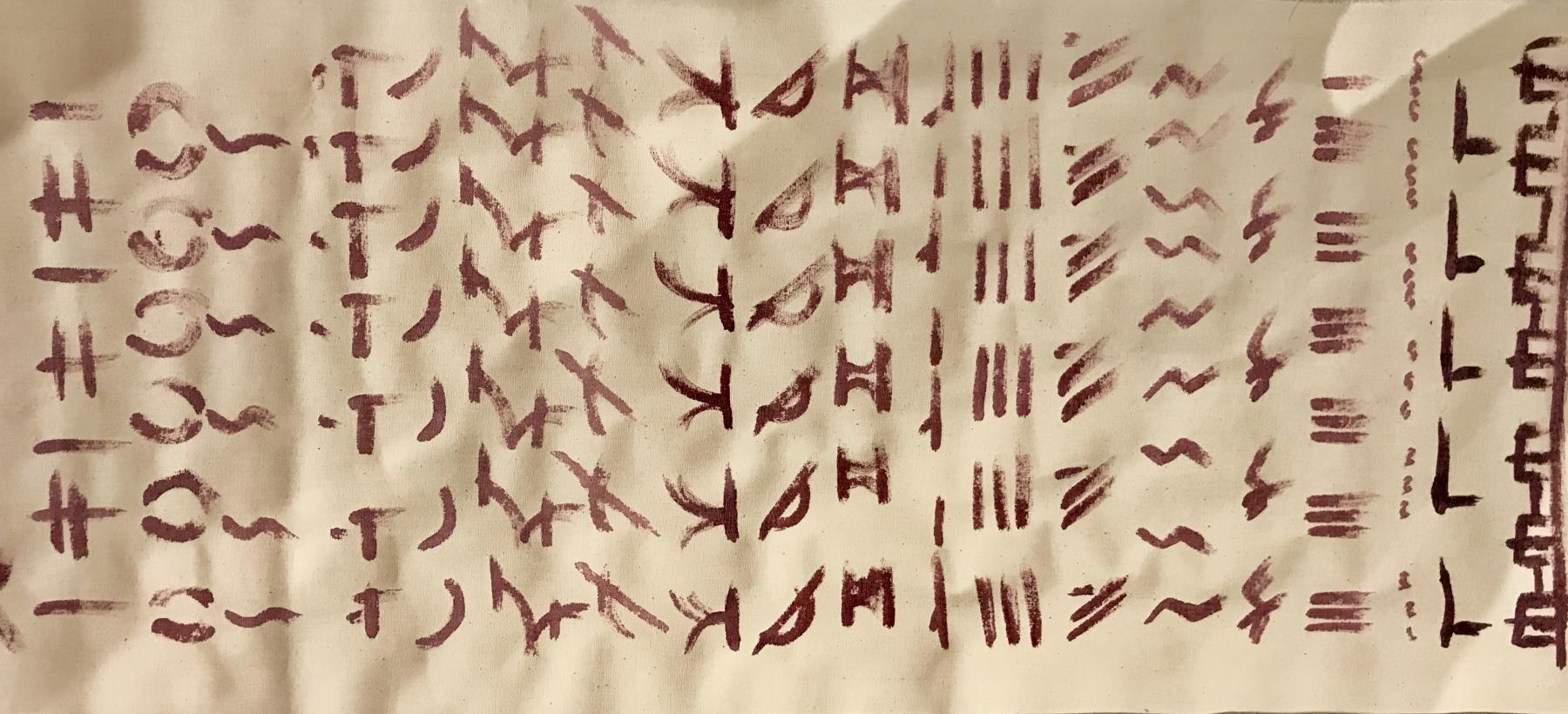 "<em>Feuei Tola, opera ispirata allo haiku ""Camminando rompo rami secchi"", 2020</em>"