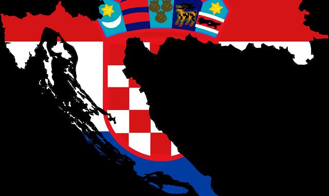 Carta geografica politica della Croazia con bandiera nazionale come sfondo