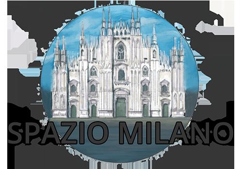 elaborazione grafica di Ben Bestetti, duomo di Milano bianco su cielo azzurro, in primo piano scritta: spazio Milano