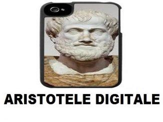 """scienza e filosofia - illustrazione digitale, scritta nera """"aristotele digitale"""", retro di cover di telefono con antico busto in marmo di uomo greco barbuto"""