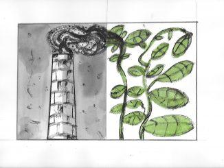 disegno, a sinistra una ciminiera con fumo nero, a destra un rami e foglie verdi