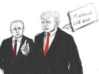 """Vignetta realizzata da Ben Bestetti. Su sfondo bianco Trump e Putin, il primo dice """"It smell like gas"""" ( in lingua italiana """"sembra odore di gas"""")"""