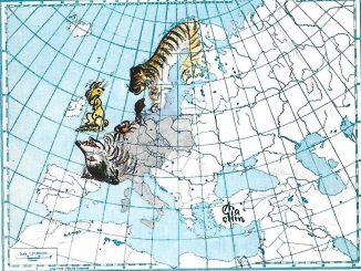 Carta geografica raffigurante l'Europa con modifiche animali: il Regno unito ha forma e aspetto di un coniglio seduto sulle zampe posteriori, la Francia la testa di un lupo, la penisola scandinava una tigre