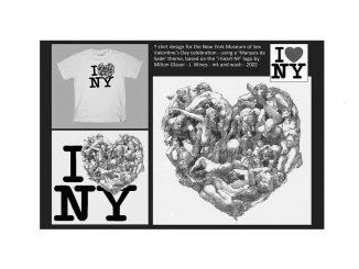 T-shirt bianca con le lettere nere maiuscole I N Y e a destra della I un groviglio di corpi intrecciati gli uni agli altri crea un disegno a forma di cuore.