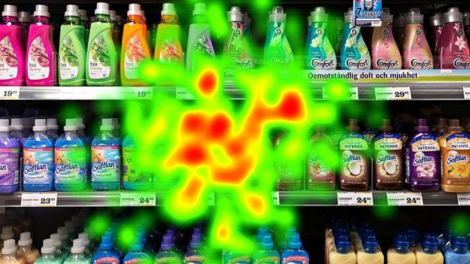 Supermarket shelves with washing-machine detergent