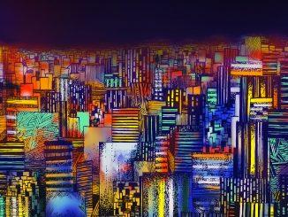 immagine digitale, colori, panorama di città con grattacieli a volo d'uccello, atmosfera notturna, cielo nero, luci colorate e sgargianti