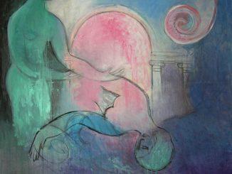 immagine colori, opera d'arte di Vittorio Mazzucconi, a sinistra figura femminile protende le braccia verso altra figura reclinata a terra, colori freddi, sfondo architettonico con arco e colonne aperto su cielo rosa