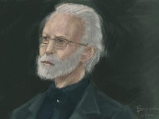 Un ritratto di Eugenio Scalfari, fondatore del quotidiano la Repubblica, realizzato con la tecnica di pittura digitale, su fondo scuro.