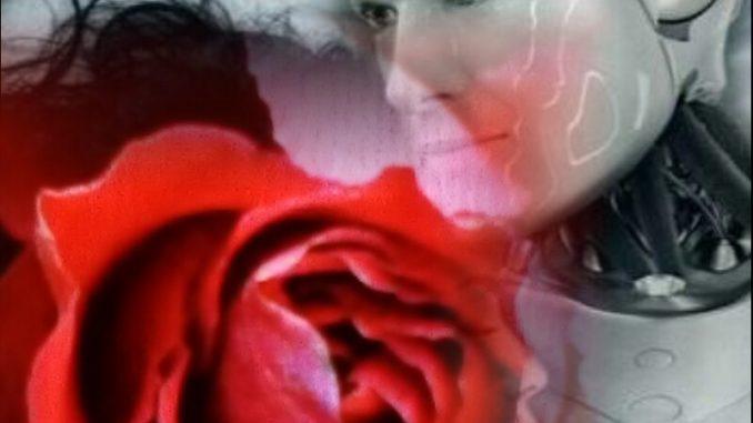 Il busto e il volto, bianchi, di robot di sesso maschile, che tiene sul proprio petto una donna, in un abbraccio. La donna è visibile solo per una piccola parte del profilo, perché interamente coperta dall'immagine di una grande rosa rossa.