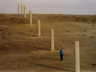 fotografia, colori, esterno, deserto grigio, una fila di pali in cemento, un uomo vestito di blu in piedi tra i pali, cielo grigio