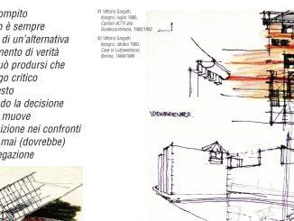 Pagina della rivista Abitacolo sulla quale si trovano alcuni disegni degli anni Ottanta realizzati a mano da Vittorio Gregotti; in alto a sinistra un breve testo che riporta un passo dell'architetto scomparso.