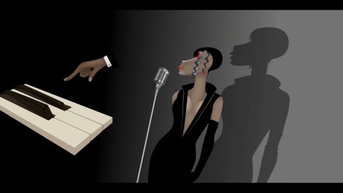 Una donna con cinque occhi posti in linea verticale, in piedi, indossa un abito nero con una lunga scollatura sul fronte, davanti a un microfono degli anni Sessanta. Sulla sinistra tre tasti bianchi di un pianoforte e una mano che si avvicina per suonarli.