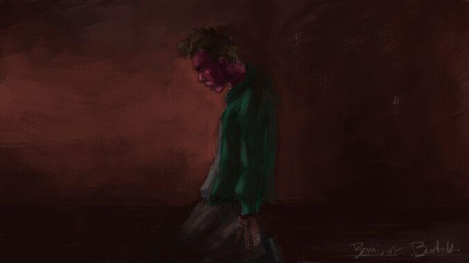 Un uomo è inginocchiato, con lo sguardo fisso sul pavimento e il volto violaceo. L'uomo si trova all'interno di una stanza con le pareti rosse