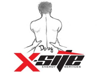 The naked bust of a man from behind, held by the arms of a figure not represented at the height of the hips. On the bust, on the lower back, the name Doug is written. Below, X-SITE Energy Services.