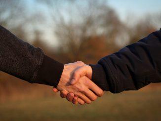 stretta di mano tra due persone. Sullo sfondo un paesaggio sfocato