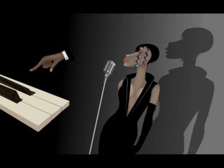 A woman with five eyes is standing in front of a microphone. On the left is a surreal image of a hand pointing at the piano keyboard