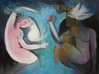 Dipinto di Vittorio Mazzucconi nel quale a sinistra è rappresentata una figura femminile accovacciata di fronte ad una figura maschile che tiene in mano un frutto rosso e una colomba che copre il volto dell'uomo. Eva e Adamo nel giardino dell'Eden.