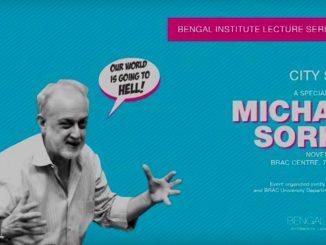 """L'Architetto Michael Sorkin sulla locandina del Bengal Institute, in occasione di una special lecture, novembre 2015,L'immagine di Sorkin è su uno sfondo azzurro con un fumetto che dice """" il nostro mondo sta andando all'inferno!"""""""