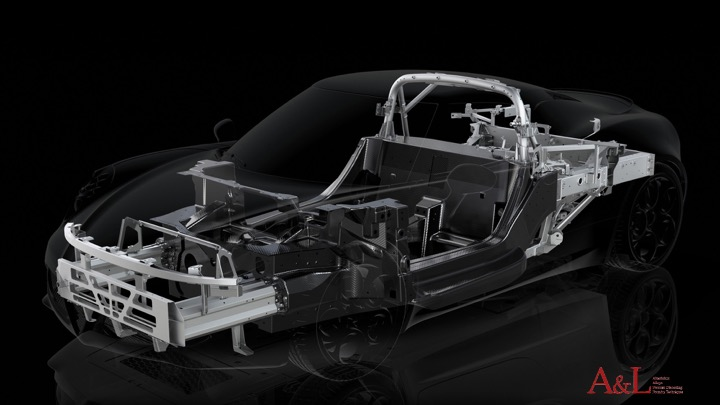 A car in which the structural parts made of aluminum are visible.