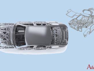 Un'automobile e le sue parti in alluminio vista dall'altro e di fronte.