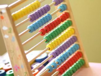 A colored abacus similar to those used by children to learn to count