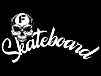 scritta skateboard e disegno di teschio in nero su sfondo bianco, logo della rubrica di Luck-Ba per Fyinpaper, quarantena fase 2