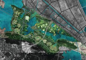 Aerial photo montage: a verdant, water-laced territory, a developing industrial installation in a developing city, Wuhan.