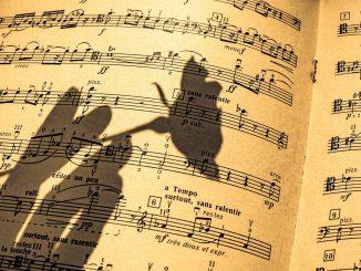pagina di uno spartito musicale con ombra di una mano che regge un fiore