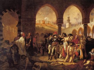 Dipinto a olio, Napoleone visita i malati di peste, la pandemia dell'ottocento. I malati sono sparsi ovunque, in piedi e a terra, intorno a Napoleone.
