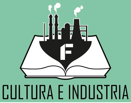 Il logo della rubrica Cultura e Industria, un libro aperto su cui spicca il disegno di un'industria e le sue ciminiere fumanti simbolo dell''architettura industriale.