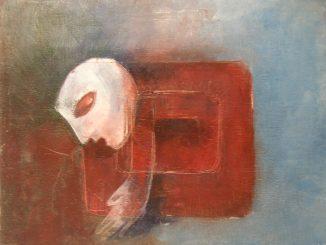 L'immagine mostra un dipinto a olio. Al centro del quadro, il profilo stilizzato di un volto bianco ad occhi chiusi è rivolto a sinistra, verso il basso. Poco più in basso una mano bianca, collegata ad un corpo a spirale che si fa sempre più rosso, la cui disposizione ricorda un labirinto. Il fondo è composto da tonalità grigio-azzurre, che si fanno più scure e tendenti al rosso a sinistra del volto
