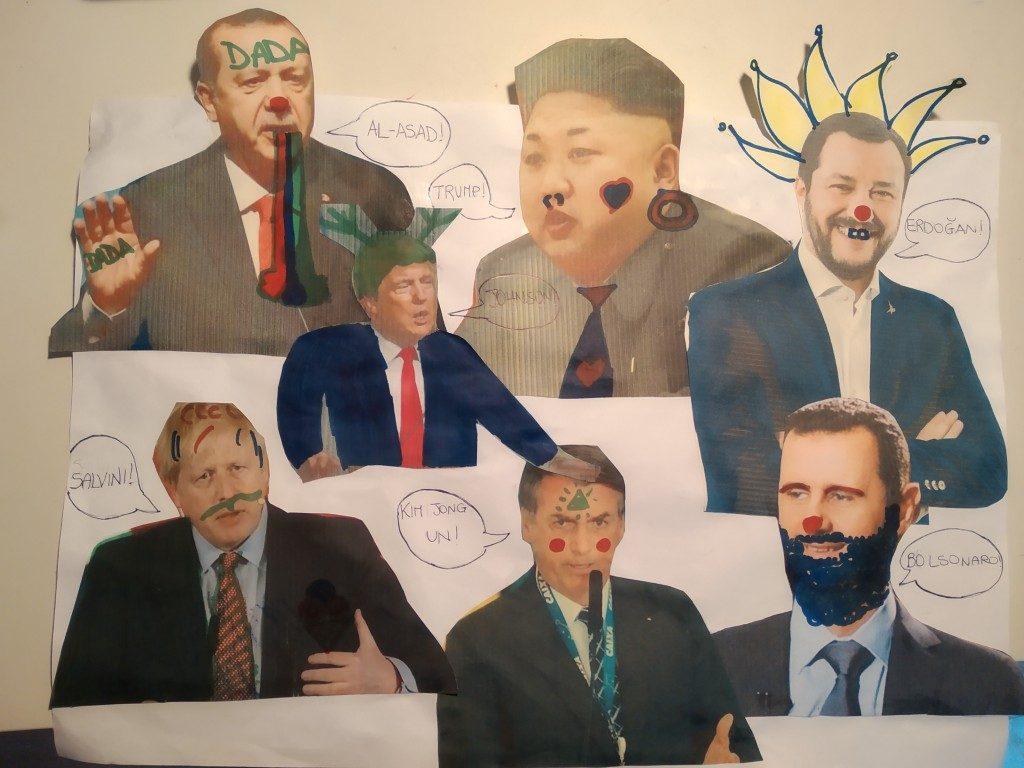 Dada art, work by school pupils, Pontreau Elodie