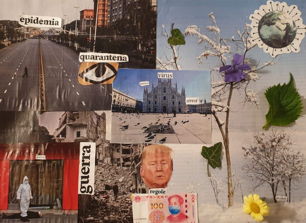 Dada art, work by school pupils, Pratomo Dylan