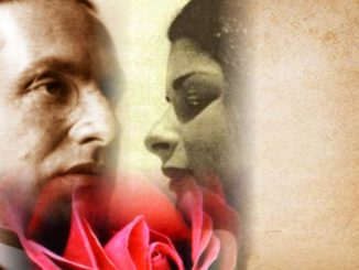 Julius Evola and Maria de Naglowska, photomontage, male face left, female face right, red rose below