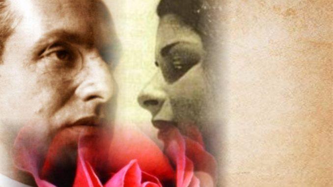 Julius Evola e Maria de Naglowska, fotomontaggio, sinistra volto uomo, destra volto donna, in basso rosa rossa