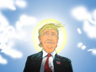 L'immagine rappresenta il presidente USA Donald Trump in versione fumettistica, vestito di una giacca nera, una camicia bianca e una cravatta rossa. Il presidentre ha un espressione a metà tra l'inebetito e l'estasiato. Dietro la sua testa, visibile a malapena nella luce che emana, si può notare un'aureola. Sullo sfondo un cielo terso costellato da qualche nuvoletta a lato. Tutta la figura del presidente pare risplendere di una luce paradisiaca