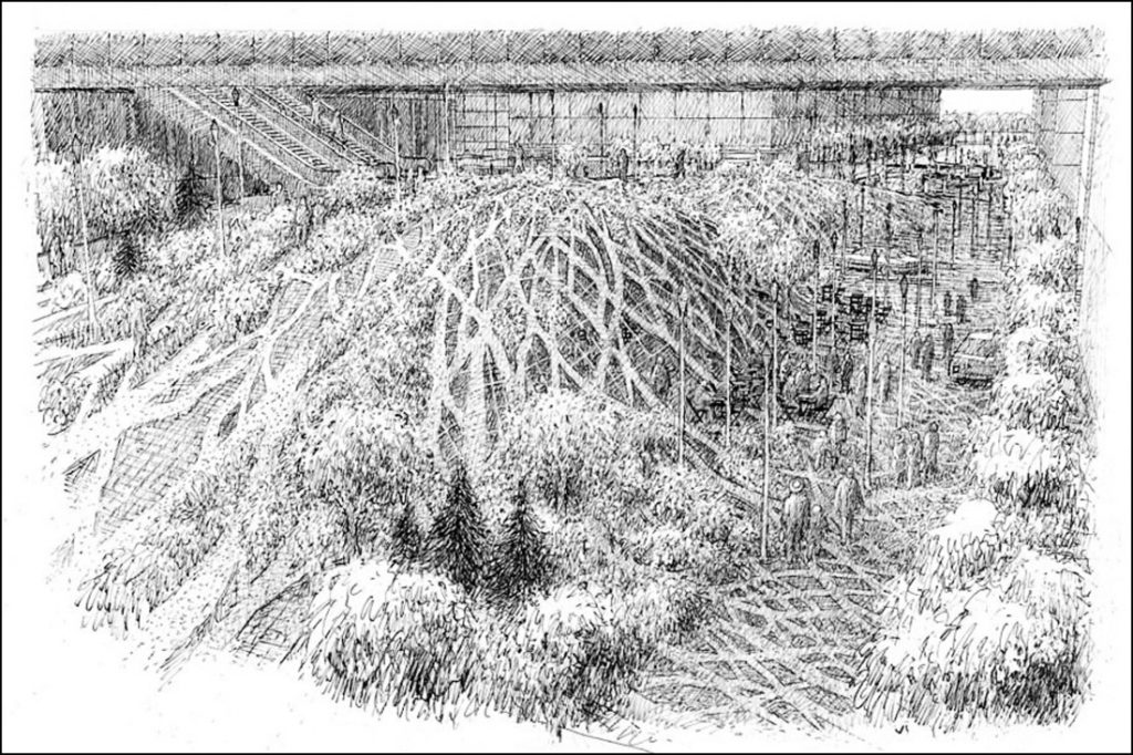 The picture shows a pencil and pen drawing. The image depicts an open space where nature and architecture merges. Small trees and scrubs of grass (marked by feet tracks) are surrounded by sidewalk, modular walls, a terrace and an escalator. There are also some street lights, some people walking around and two parked cars