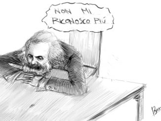 """class struggle today, drawings, Karl Marx says """"I can't recognise me anymore"""", by Ben Bestetti"""
