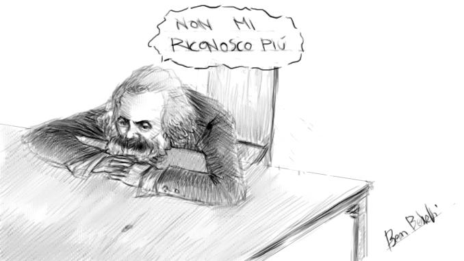 """lotta di classe oggi, disegno di Karl Marx con vignetta """"non mi riconosco più"""", realizzato da Ben Bestetti"""