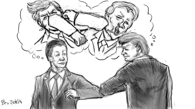 """The picture is a pencil drawing depicting Chinese president Xi Jinping and US president Donald Trump """"elbowing"""" each other, simingly as a signo f friendship (while in their real thoughts, they are fighting as shown on the thought balloon above them)"""