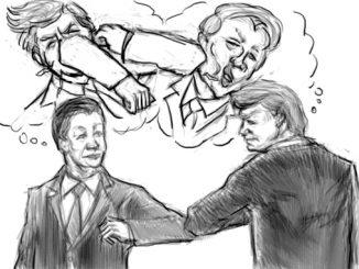 L'immagine è un disegno a matita che mostra il presidente cinese Xi Jinping e quello americano Donad Trump fare gomito a gomito in segno di apparente amicizia, salvo poi prendersi a pugni nei rispettivi pensieri illustrati nelle nuvolette sovrastanti