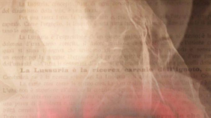 Vitaldo Conte Vitaldix, gli sguardi di Valentine de Saint-Point, dissolvenza sfumata con pagina scritta, volto femminile, rosa rossa