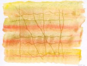 Drawing with blurred, yellow and orange strips crossed by vertical signs and surrounded by an irregular white border