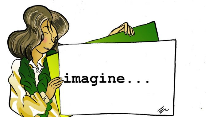 drawing, by Gabriele Artusio, girl in yellow and green jersey, holding a board with the word imagine, column The visual unpublished, Marilena Vita
