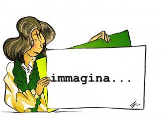 disegno a colori di Gabriele Artusio, ragazza con vestiti gialli e verdi, cartello con scritto immagina, rubrica inedito visivo