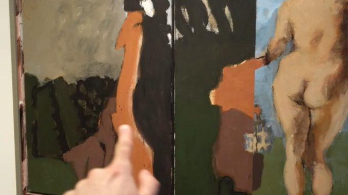 dipinto di Markus Lüpertz, che raffigura, sul lato destro, un nudo e, al centro, delle pennellate di colori caldi come marrone, arancione e verde bottiglia.