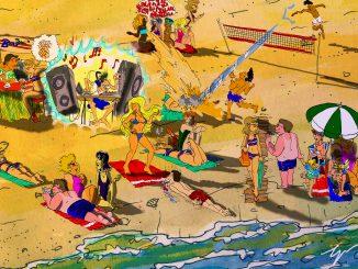 L'immagine è un illustrazione basata sui racconti di Marta Mecatti. Su una spiaggia sabbiosa (COn un accenno di mare nella parte bassa) è costellata da scenette che ricalcano gli episodi riportati, accomunati dalla presenza di Erica, una ragazza con i capelli paglierini ed un costume in due parti a striscie bianche, rosse e blu