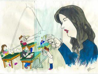 Rientro a scuola a settembre: disegno di Gabriele Artusio, ministro Azzolia bussa sul plexiglass, dietro studenti in classe