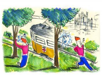 disegno di Gabriele Artusio che ritrae un tram di Milano e due giovani, di cui uno ha la mascherina appesa a un ramo di un albero