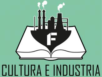 logo della rubrica cultura e industria di colore verde con l'immagine di una fabbrica con ciminiere
